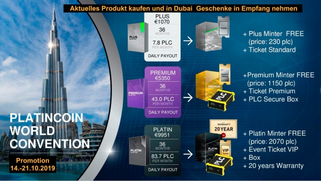 PLATINCOIN – offiziellen website PROMO Dubai 21.10.2019